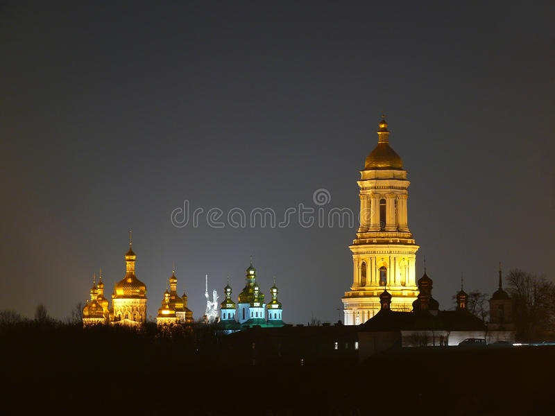 Skyline view of Kiev Pechersk Lavra complex royalty free stock images