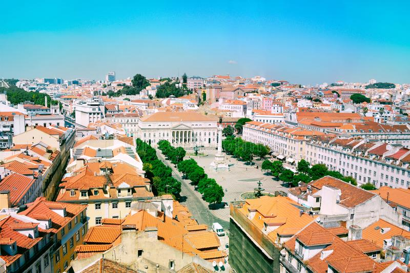 Skyline view over Rossio square, Lisbon. royalty free stock photo