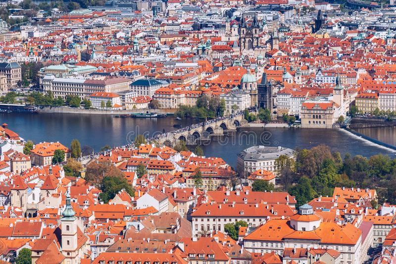 Skyline view panorama of Charles bridge Karluv Most with Old T royalty free stock images