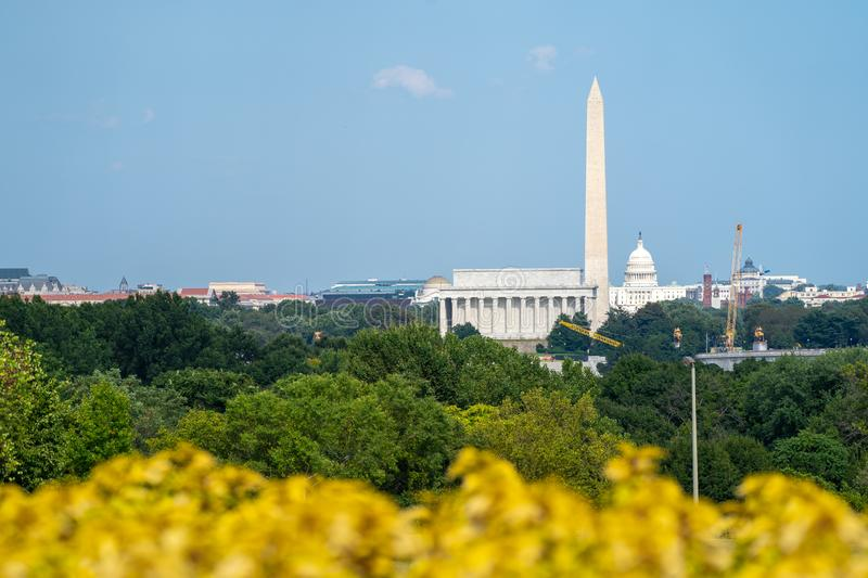 Skyline view of Washington DC, with the Lincoln Memorial, Washington Monument and Capitol building in view. Wildflowers blurred in royalty free stock photography