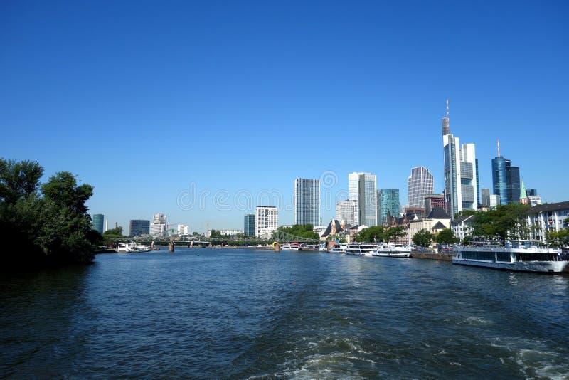 Skyline von Frankfurt-Hauptleitung Deutschland, Finanzbezirk stockbilder