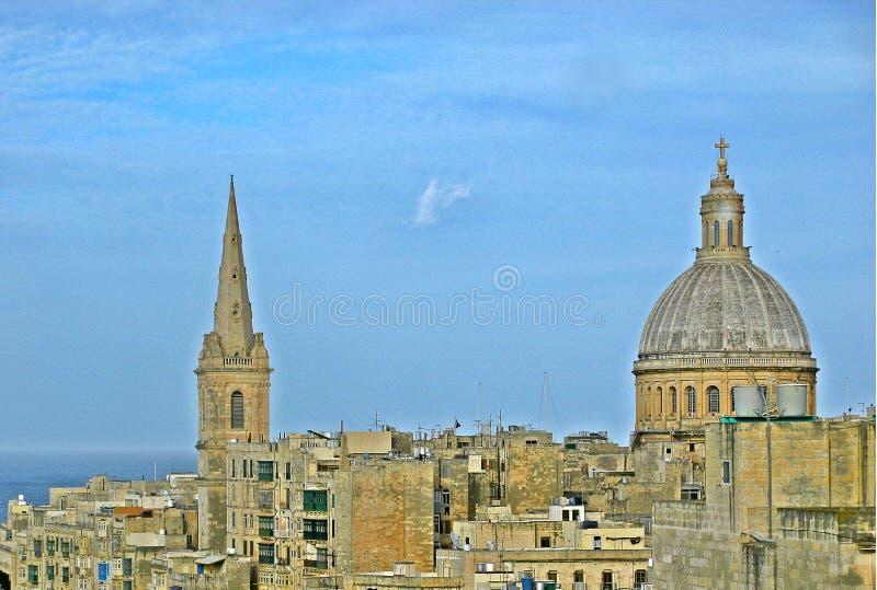 Skyline von La Valletta, Malta lizenzfreie stockfotos