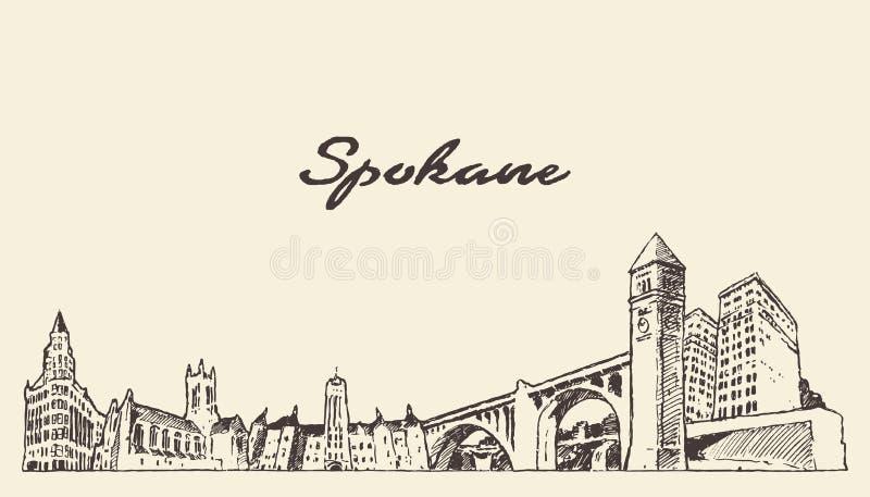 Skyline Washington United States de Spokane um vetor ilustração royalty free