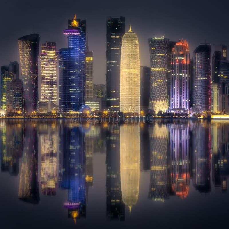 The skyline of West Bay and Doha Center, Qatar stock photos