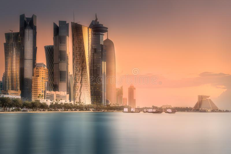 Download Skyline Of West Bay And Doha City Center, Qatar Stock Image - Image of doha, middle: 111455443