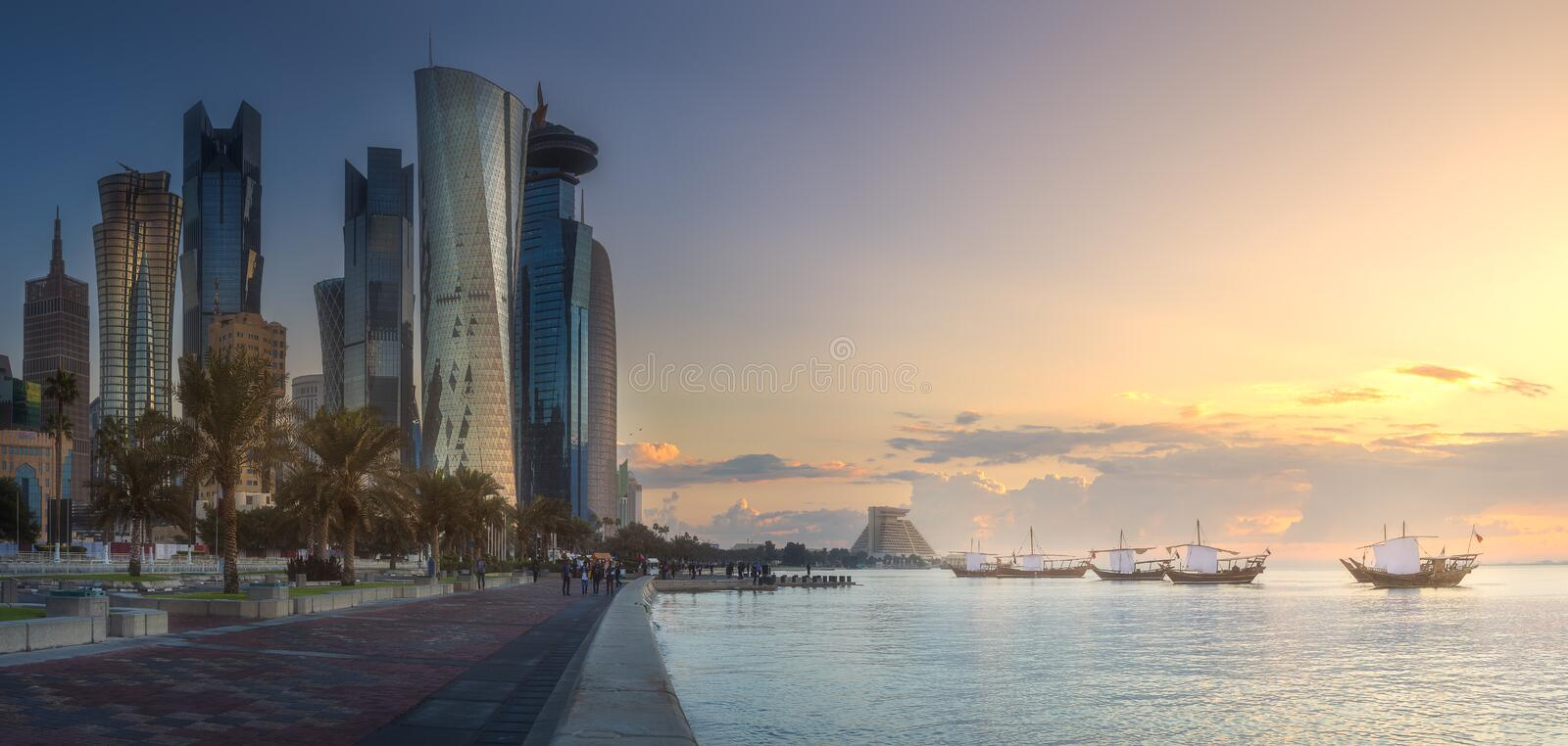 Skyline of West Bay and Doha City Center, Qatar stock images