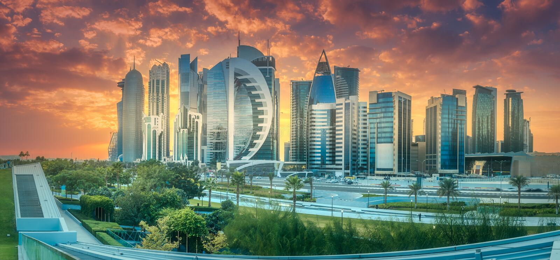 Skyline of West Bay and Doha City Center, Qatar stock image