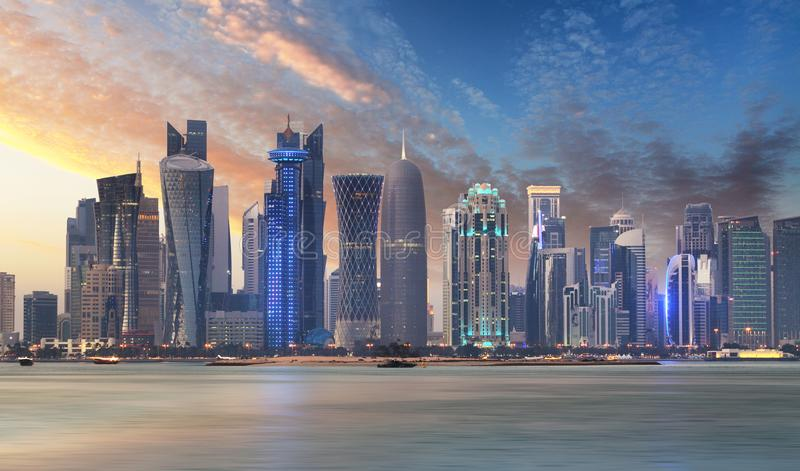 Skyline of West Bay and Doha City Center during sunrise, Qatar stock photography