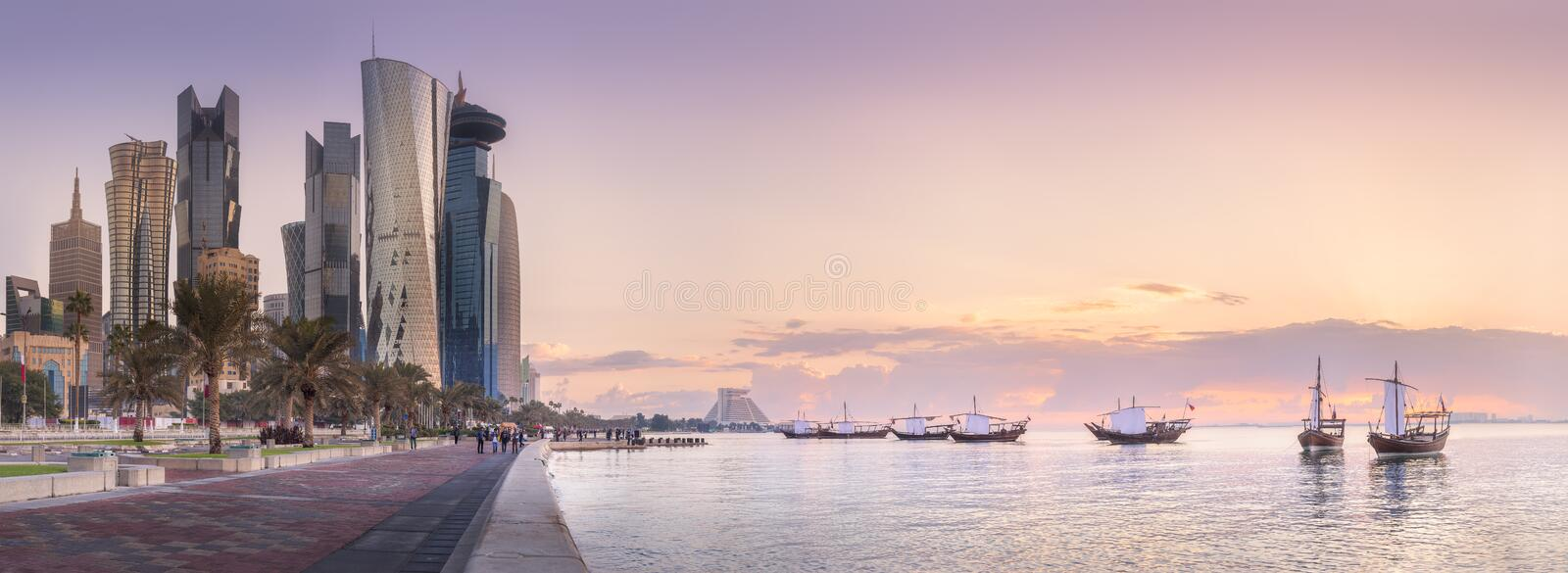Skyline of West Bay and Doha City Center, Qatar royalty free stock image
