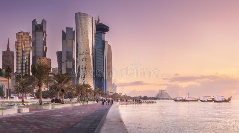 The skyline of West Bay and Doha City, Qatar royalty free stock photography