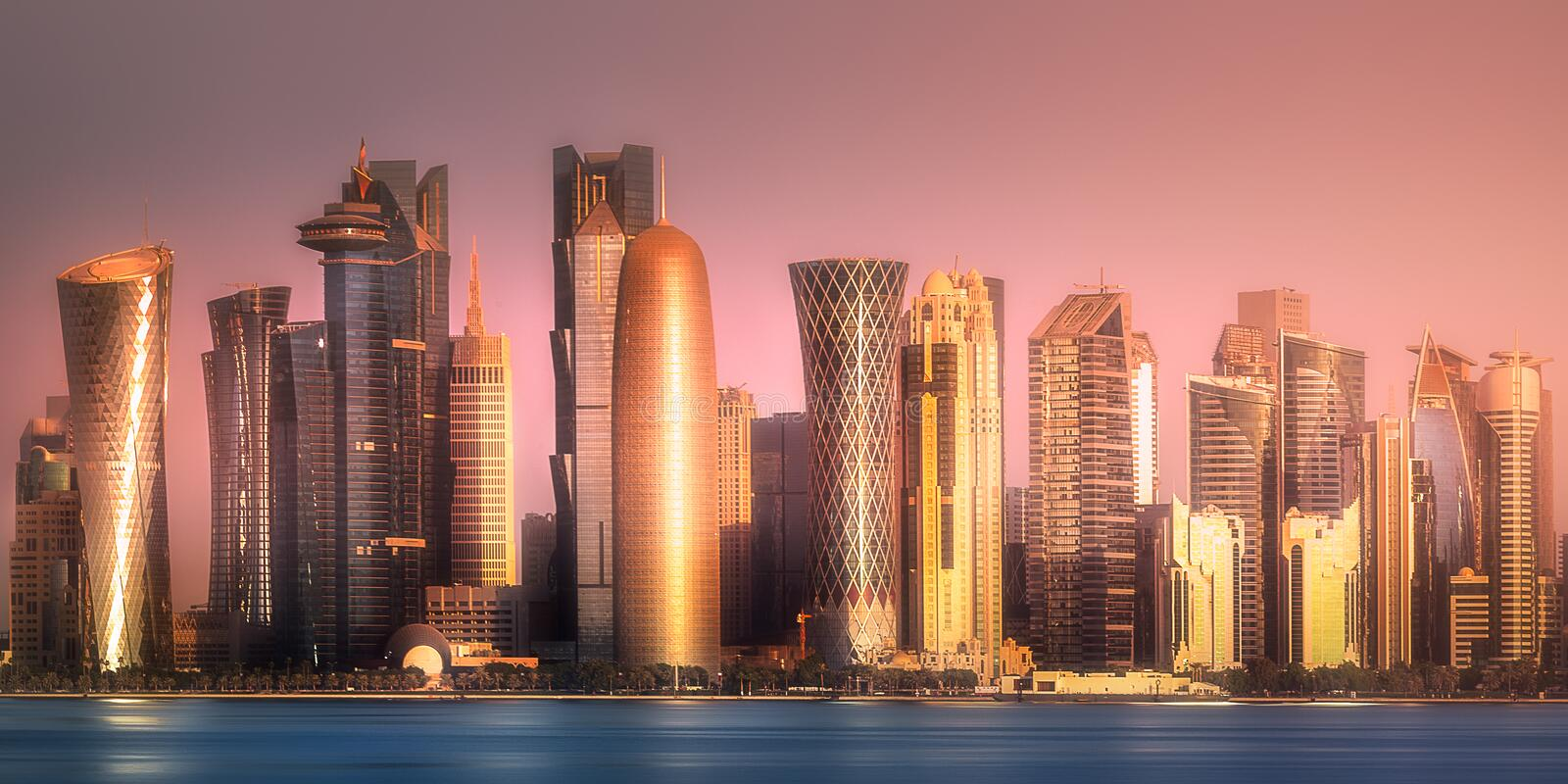 The skyline of West Bay and Doha downtown, Qatar royalty free stock photography