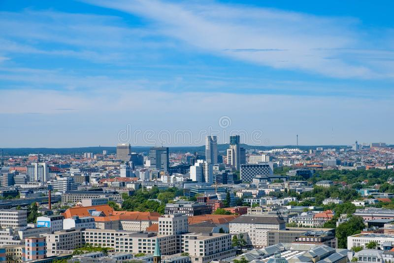 Skyline of West Berlin, cityscape / aerial of Berlin royalty free stock photos