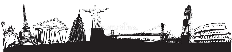 Skyline of the world landmarks stock illustration