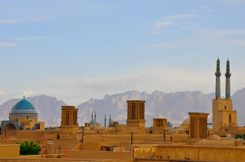 SKYLINE IN YAZD. BADGIRS OF YAZD royalty free stock photo
