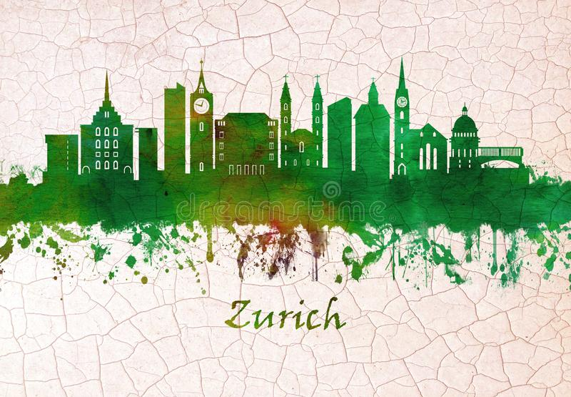 Skyline Zürichs die Schweiz stock abbildung