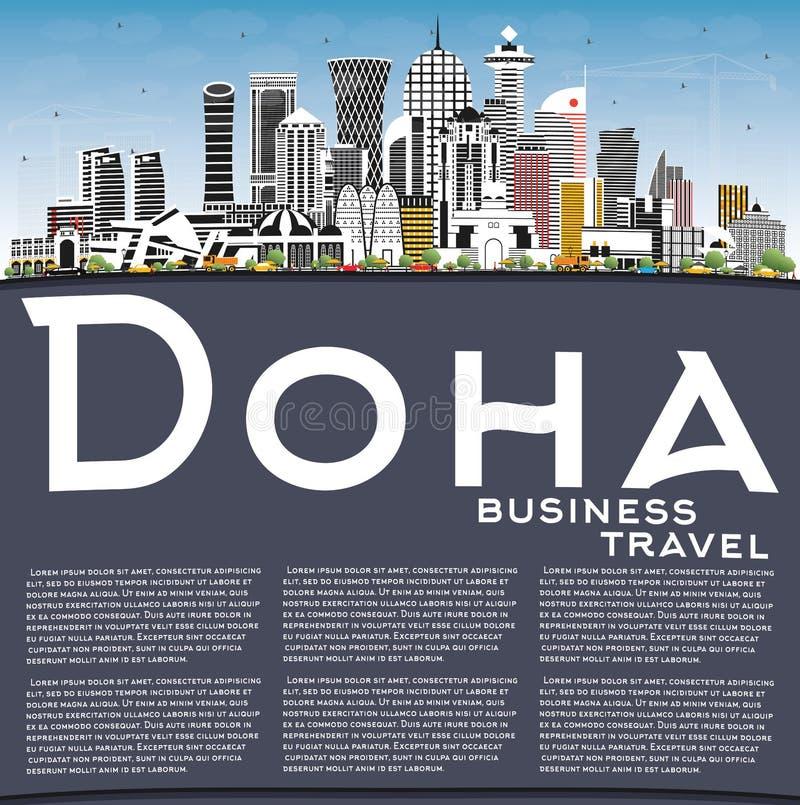 Skyline z Doha Qatar City z kolorowymi budynkami, Blue Sky i kopią royalty ilustracja