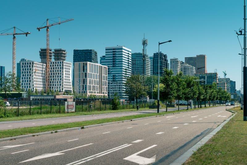 Skyline, Zuidas in amsterdam, Parnassusweg, Sky scrapers, wtc. Amsterdam, Parnassusweg, the Netherlands, 05/29/2019, Sky scrapers, Modern office buildings in royalty free stock image