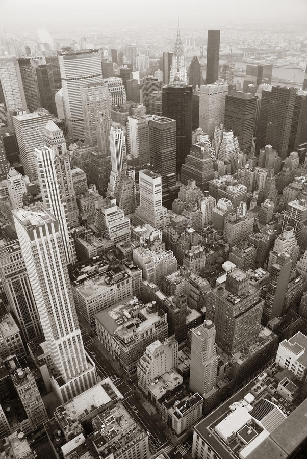 Skylineblack e bianco di New York City Manhattan immagine stock libera da diritti