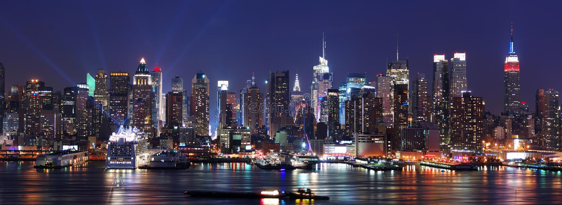 Skylinepanorama New- York Citymanhattan stockbild