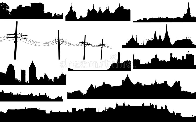 Skylines. Set of various vector skylines and foregrounds
