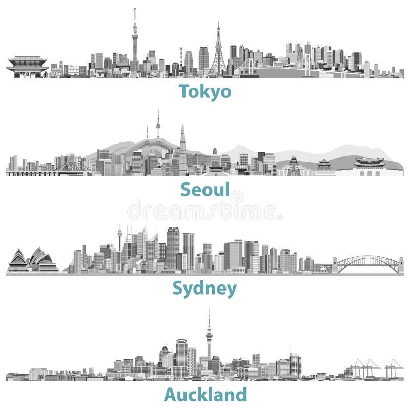Skylines abstratas do Tóquio, do Seoul, do Sydney e do Auckland em escalas cinzentas ilustração stock