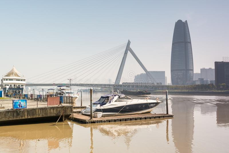 Skylines and bridge accross  the Yong river in Ningbo City, China stock photos
