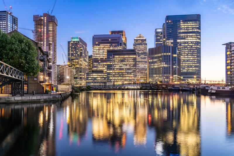Skylines building at Canary Wharf in London royalty free stock photo