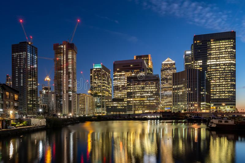 Skylines building at Canary Wharf in London UK stock photography