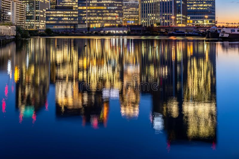 London Canary Wharf sunset stock image
