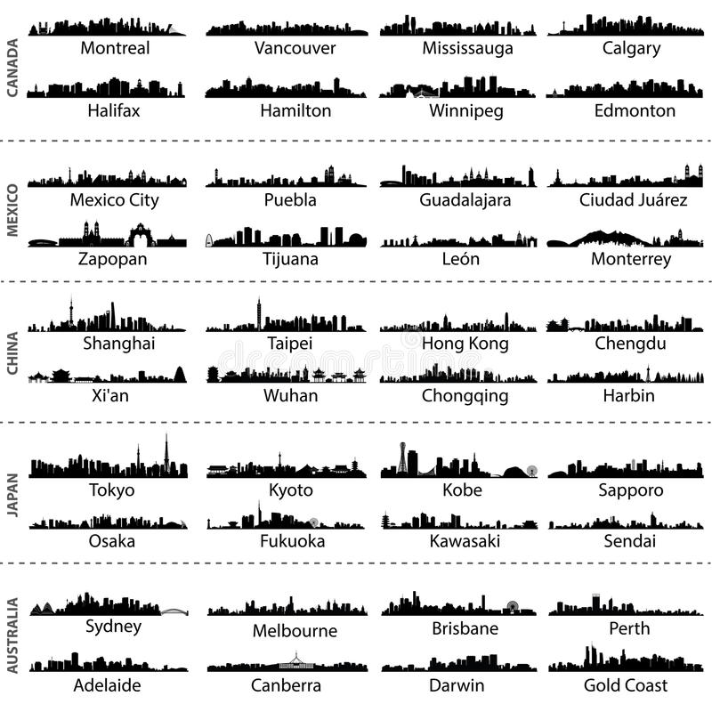 Skylines of Canada, Mexico, China, Japan and Australia cities vector illustration