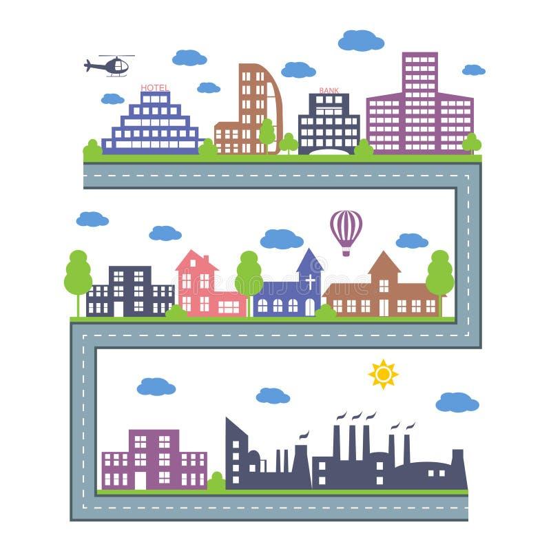 Skylines da cidade Ícones do construtor da paisagem ajustados Elementos do vetor da cidade isolados no branco ilustração royalty free