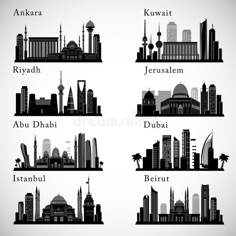 Skylines das cidades de Médio Oriente ajustadas Silhuetas do vetor dos marcos de Médio Oriente