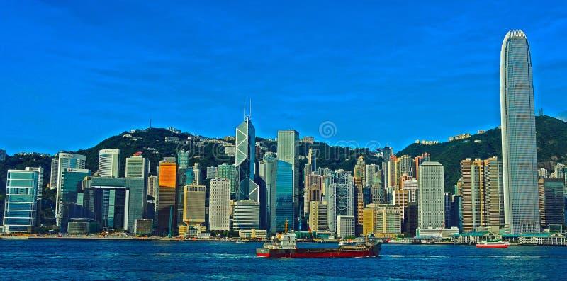 Skylines do porto de Hong Kong imagem de stock royalty free