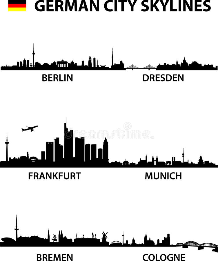 Skylines Germany. Detailed illustration of the german cities Berlin, Bremen, Cologne, Dresden, Frankfurt am Main and Munich