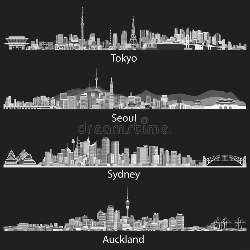 Skylines preto e branco abstratas do Tóquio, do Seoul, do Sydney e do Auckland ilustração royalty free