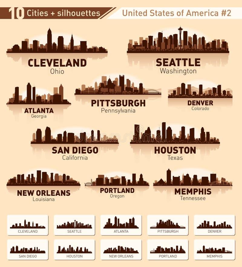 Skylinestadtset. 10 Städte von USA #2 lizenzfreie abbildung