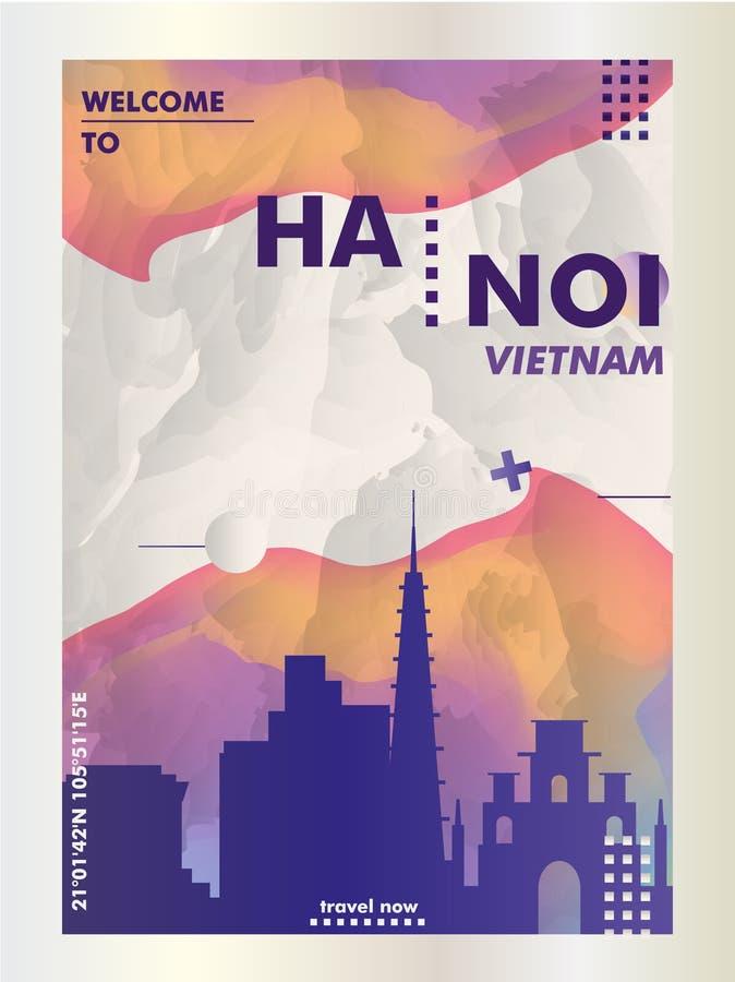 Skylinestadtsteigungs-Vektorplakat Vietnams Hanoi stock abbildung