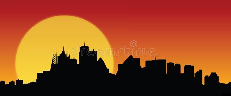Skylinesydney-Sonnenuntergangsvektor stock abbildung