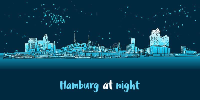 Skylinie汉堡口岸全景在晚上 库存例证