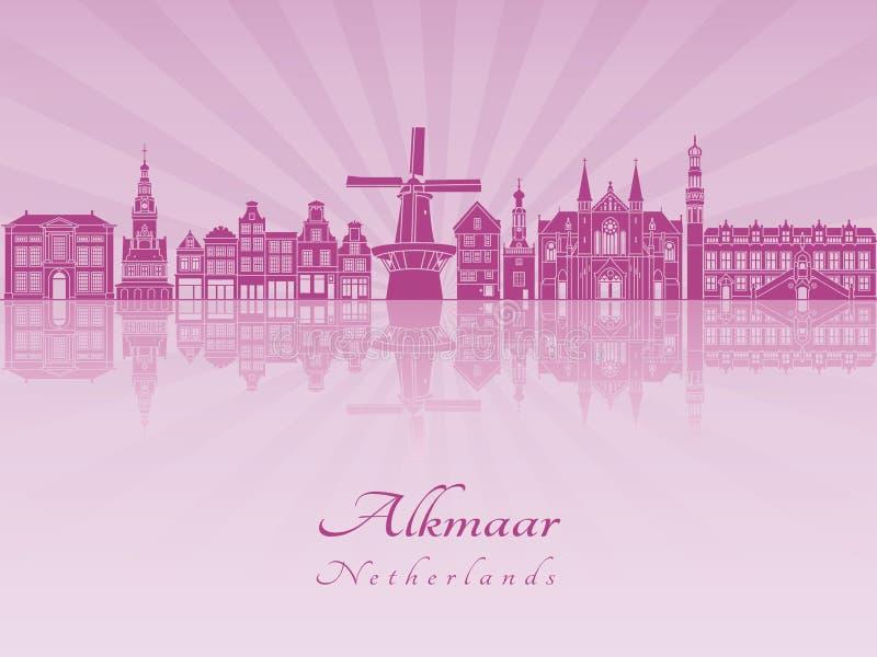 Skylline di Alkmaar in orchidea radiante porpora royalty illustrazione gratis