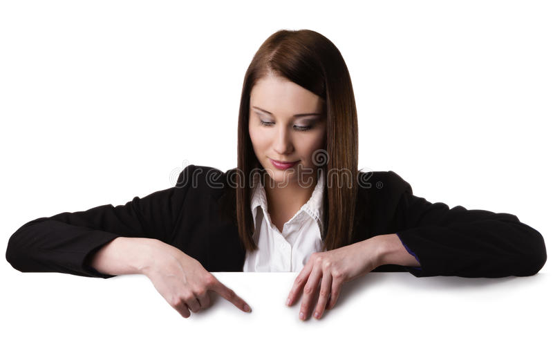 Skylt för affärskvinnavisningmellanrum arkivbild