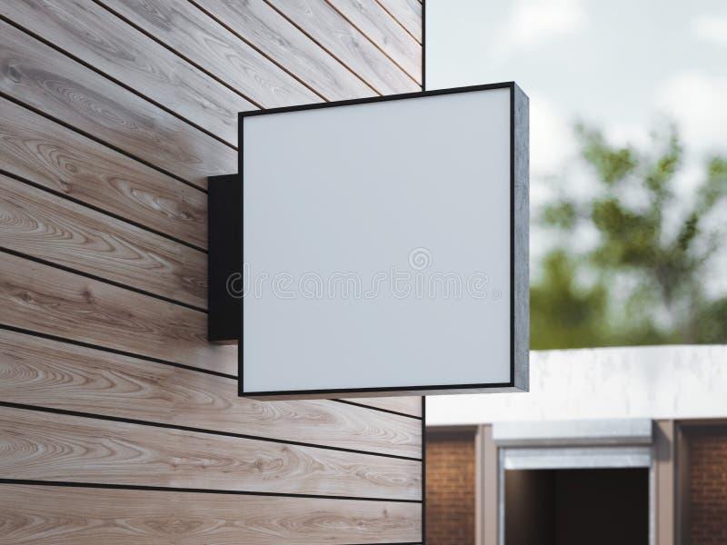 Skylt för vit fyrkant på väggen framförande 3d royaltyfri illustrationer