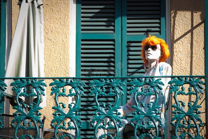 Skyltdocka i den franska fjärdedelen, New Orleans arkivfoto