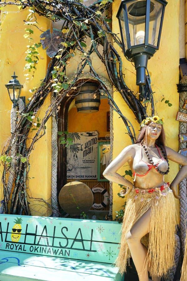 Skyltdockadockan av en tropisk dansare som bär en hawaiansk kjol för huladansaregräs och en kokosnötbehå i, shoppar gallerian av  royaltyfri fotografi
