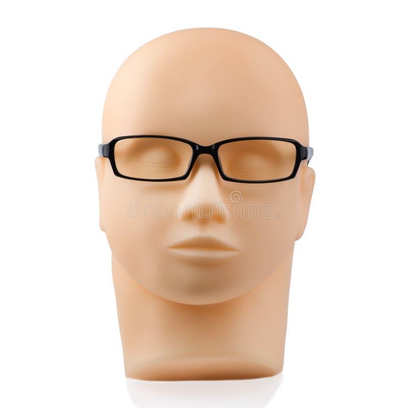 Skyltdockahuvud med svart glasögon arkivbilder
