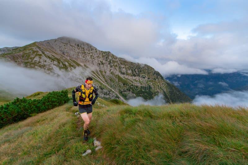 Skymarathon extrême de concurrence de course de montagne homme s'élevant dans t photo libre de droits
