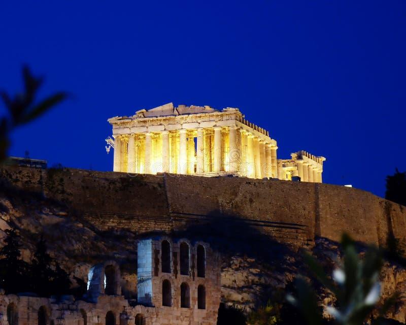 skymning för acropolisathens parthenon arkivbild