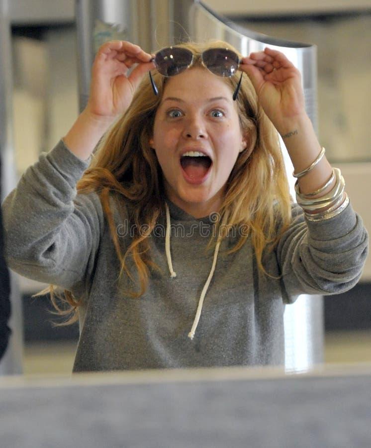 skymning för rachelle för lefevre för aktrisflygplats slapp royaltyfri foto