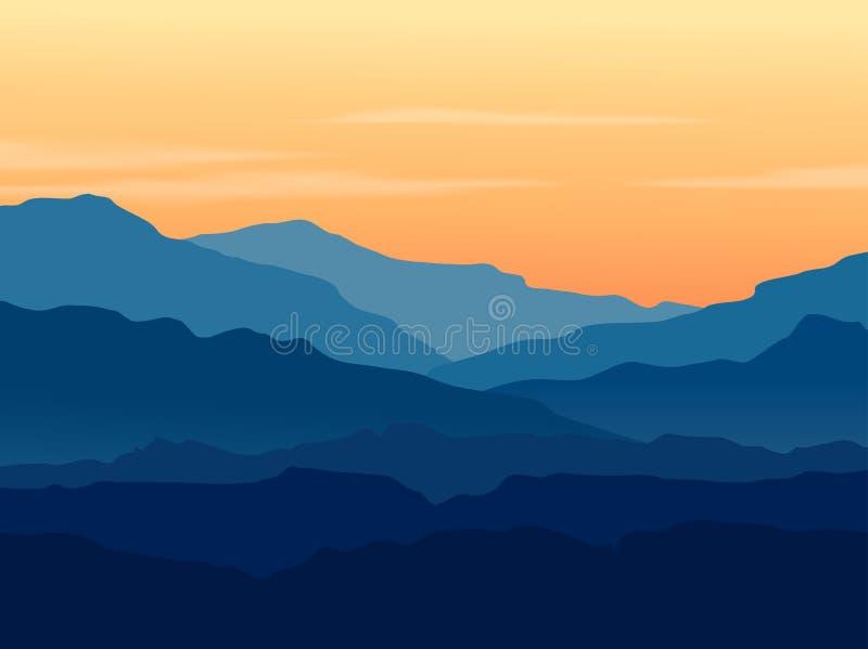 Skymning i blåa berg royaltyfri illustrationer