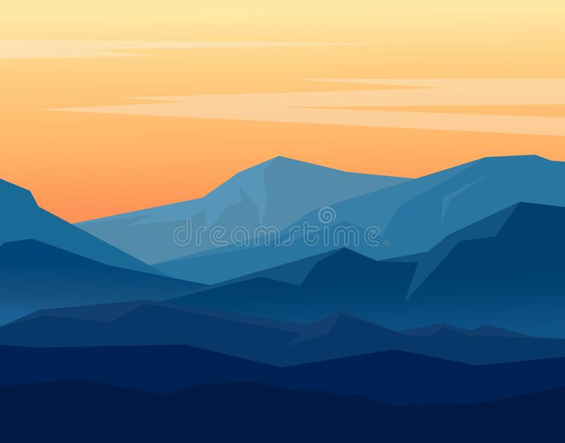 Skymning i bl?a berg stock illustrationer